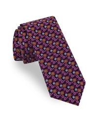Corbata con print de flores morado