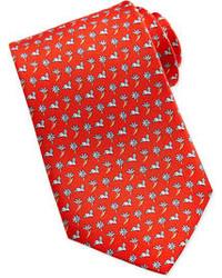 Corbata con print de flores roja
