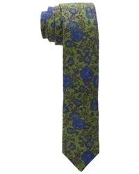 Corbata con print de flores verde oliva