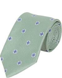 Corbata con print de flores verde
