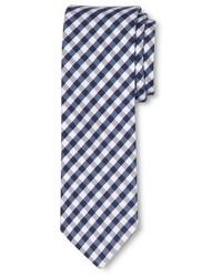 Corbata de cuadro vichy en blanco y azul marino