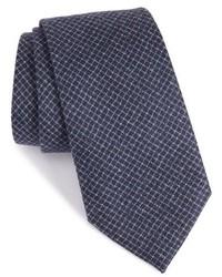 Corbata de lana a cuadros azul marino de Armani Collezioni