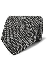 Corbata de lana a cuadros gris
