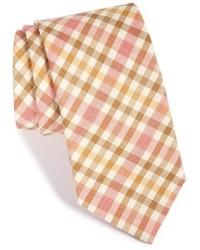 Corbata de lana a cuadros marrón claro de Ike Behar