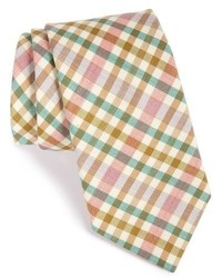 Corbata de lana a cuadros naranja de Ike Behar
