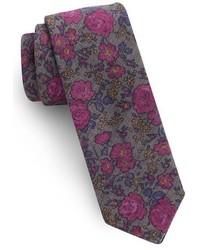 Corbata de lana con print de flores en violeta de Ted Baker