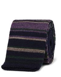 Corbata de lana de rayas horizontales azul marino de Etro