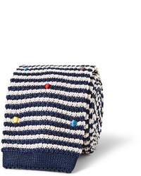 Corbata de lana de rayas horizontales en blanco y azul marino de Paul Smith