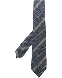 Corbata de lana de rayas horizontales en gris oscuro de Kiton