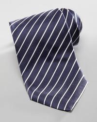 Corbata de rayas horizontales en azul marino y blanco de Armani Collezioni
