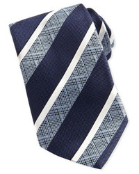 Corbata de rayas horizontales en azul marino y blanco de Ermenegildo Zegna