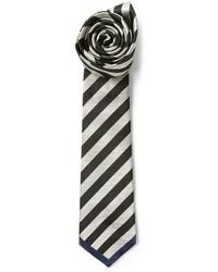 Corbata de rayas horizontales en negro y blanco
