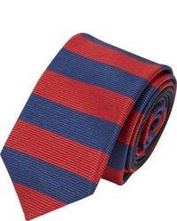 Corbata de rayas horizontales en rojo y azul marino