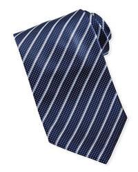 Corbata de Rayas Verticales Azul Marino y Blanca