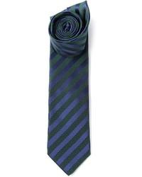 Corbata de Rayas Verticales Azul Marino y Verde