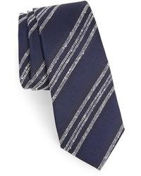 Corbata de rayas verticales azul marino de Alexander Olch
