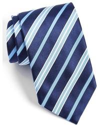 Corbata de rayas verticales azul marino de David Donahue