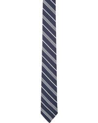 Corbata de rayas verticales en blanco y azul marino de Thom Browne