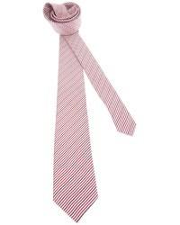 Corbata de rayas verticales en blanco y rojo de Saint Laurent