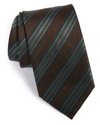 Corbata de rayas verticales en marrón oscuro de Brioni