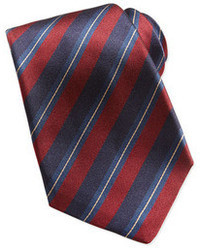 Corbata de rayas verticales en rojo y azul marino de Kiton