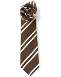Corbata de rayas verticales marrón de Kiton