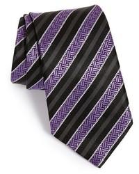 Corbata de rayas verticales morado oscuro de Ermenegildo Zegna