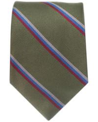 Corbata de rayas verticales verde oliva