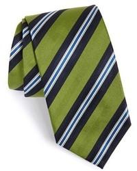 Corbata de rayas verticales verde oliva de David Donahue