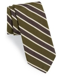 Corbata de rayas verticales verde oliva de Todd Snyder
