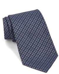 Corbata de seda a cuadros azul marino de John Varvatos