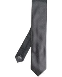 Corbata de seda a lunares en gris oscuro de Brioni