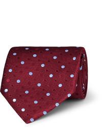 Corbata de seda a lunares roja de Charvet