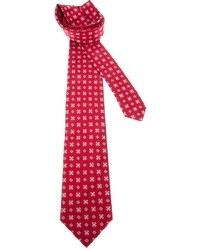 Corbata de seda bordada roja de Brioni
