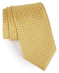 Corbata de seda con estampado geométrico amarilla de Canali
