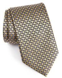 Corbata de seda con estampado geométrico amarilla de Ermenegildo Zegna