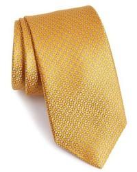 Corbata de seda con estampado geométrico dorada de David Donahue