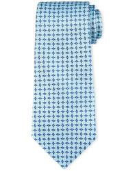 Corbata de seda con estampado geométrico en turquesa de Armani Collezioni