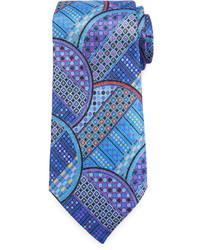 Corbata de seda con estampado geométrico en turquesa de Ermenegildo Zegna