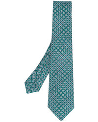 Corbata de seda con estampado geométrico en verde azulado de Kiton