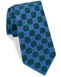 Corbata de seda con estampado geométrico en verde azulado de Ted Baker
