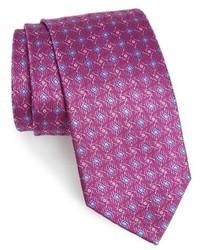 Corbata de seda con estampado geométrico en violeta de David Donahue