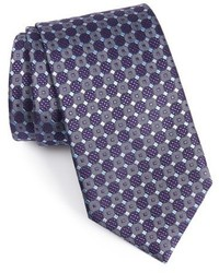 Corbata de seda con estampado geométrico en violeta de Ermenegildo Zegna