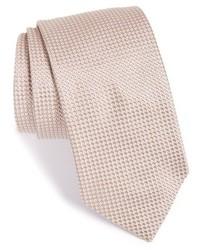 Corbata de seda con estampado geométrico marrón claro de Eton