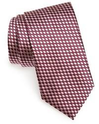 Corbata de seda con estampado geométrico morado oscuro de Ermenegildo Zegna