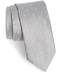Corbata de seda con estampado geométrico plateada de Canali