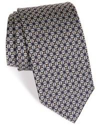 Corbata de seda con estampado geométrico plateada de Robert Talbott