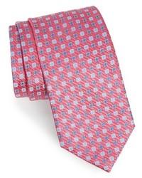 Corbata de seda con estampado geométrico rosa de David Donahue