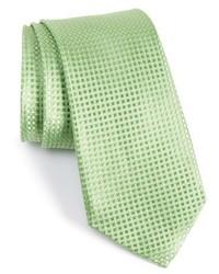 Corbata de seda con estampado geométrico verde de Nordstrom