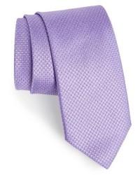 Corbata de seda con estampado geométrico violeta claro de Canali